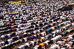 Pictured: Muslims pray in the streets of Tongi, Bangladesh as part of Bishwa Ijteman.<br /> <br /> Millions of praying Muslims stopped traffic today as they took part in an annual religious festival.  They prayed together for ten minutes as traffic came to a standstill in the town of Tongi, Bangladesh.<br /> <br /> The worshippers all faced in one direction, towards Mecca - the holiest of Muslim cities.  SEE OUR COPY FOR DETAILS.<br /> <br /> Please byline: Sultan Ahmed Niloy/Solent News<br /> <br /> © Sultan Ahmed Niloy/Solent News & Photo Agency<br /> UK +44 (0) 2380 458800