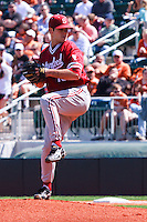 AUSTIN, TEXAS-March 6, 2011:  Starter Jordan Pries of Stanford prepares to deliver a pitch during the game against the Texas Longhorns, at Disch-Falk field in Austin, Texas.  Texas defeated Stanford 4-2.