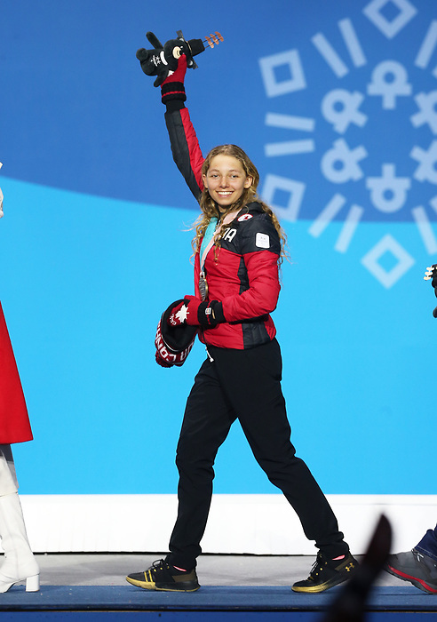 Pyeongchang, Korea, 14/3/2018- Natalie Wilkie receives a bronze medal at the 2018 Paralympic Games in PyeongChang. Photo Scott Grant/Canadian Paralympic Committee.