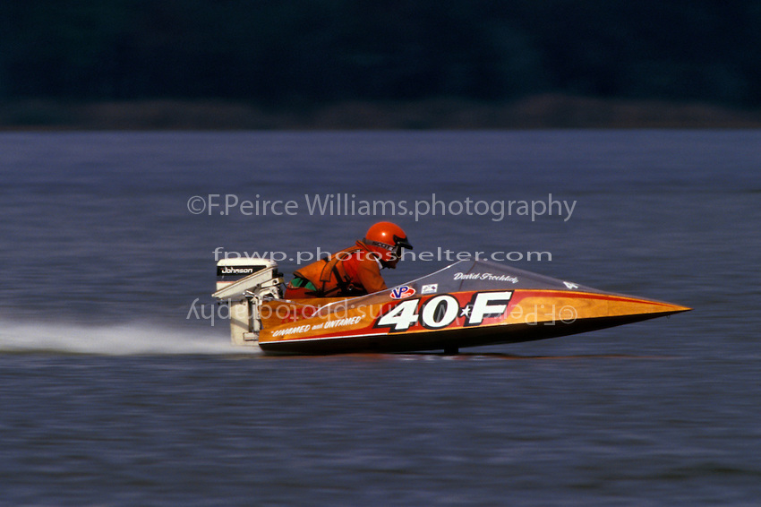 """Drive it like you stole it"". Future Unlimited Hydroplane cripple J. W. Myers drives a boat borrowed from David Froehlich, Jr., Lake Alfred, Florida 1995"