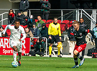 WASHINGTON, DC - FEBRUARY 29: Julian Gressel #31 of DC United closes in on Kellyn Acosta #10 of the Colorado Rapids during a game between Colorado Rapids and D.C. United at Audi Field on February 29, 2020 in Washington, DC.
