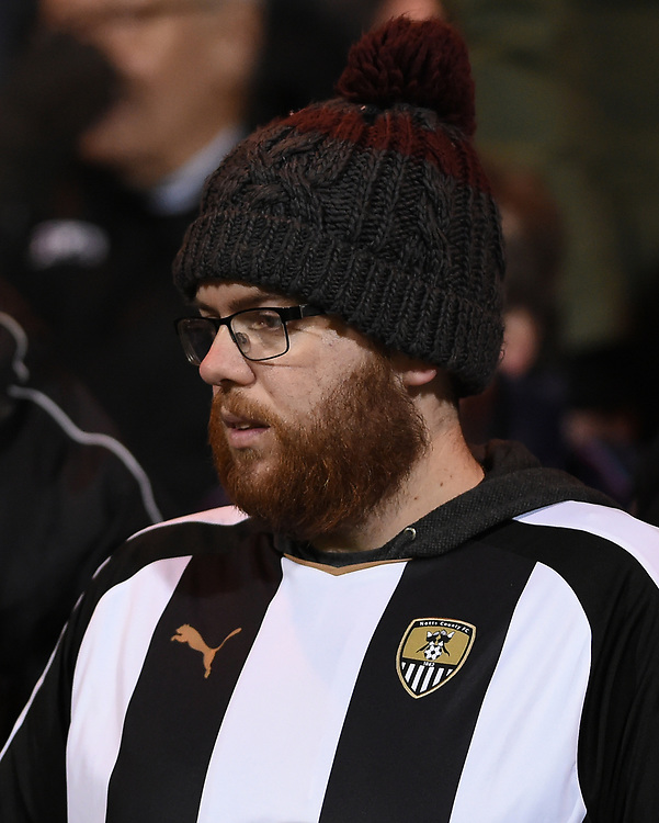 Notts County supporter<br /> <br /> Photographer Jon Hobley/CameraSport<br /> <br /> The EFL Sky Bet League Two - Notts County v Crawley Town - Tuesday 23rd January 2018 - Meadow Lane - Nottingham<br /> <br /> World Copyright &copy; 2018 CameraSport. All rights reserved. 43 Linden Ave. Countesthorpe. Leicester. England. LE8 5PG - Tel: +44 (0) 116 277 4147 - admin@camerasport.com - www.camerasport.com