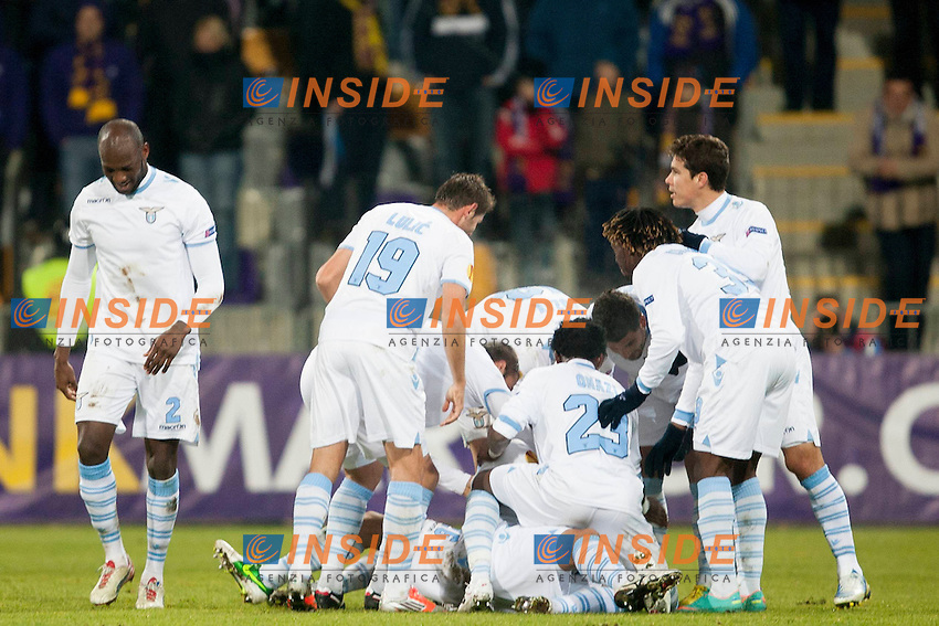 06.12.2012, Ljudski vrt, Marburg, SLO, UEFA EL, NK Maribor vs Lazio Rom, Gruppe J, im Bild Team S. S. Lazio // during UEFA Europa League group G match between NK Maribor and Lazio Rom at the Ljudski vrt Stadium, Maribor, Slovenia on 2012/12/06. EXPA Pictures © 2012, PhotoCredit: EXPA/ Sportida/ Urban Urbanc..***** ATTENTION - OUT OF SLO ***** .Esultanza Lazio.Maribor 6/12/2012 .Football Calcio Europa League 2012/2013.Maribor Vs Lazio.Foto EXPA/ Sportida/ Urbanc / Insidefoto .ITALY ONLY