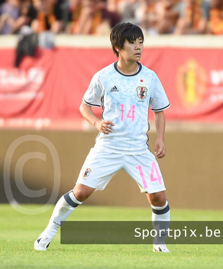 20170613 - LEUVEN ,  BELGIUM : Japanese Yu Nakasato pictured during the female soccer game between the Belgian Red Flames and Japan , a friendly game before the European Championship in The Netherlands 2017  , Tuesday 13 th Juin 2017 at Stadion Den Dreef  in Leuven , Belgium. PHOTO SPORTPIX.BE | DIRK VUYLSTEKE