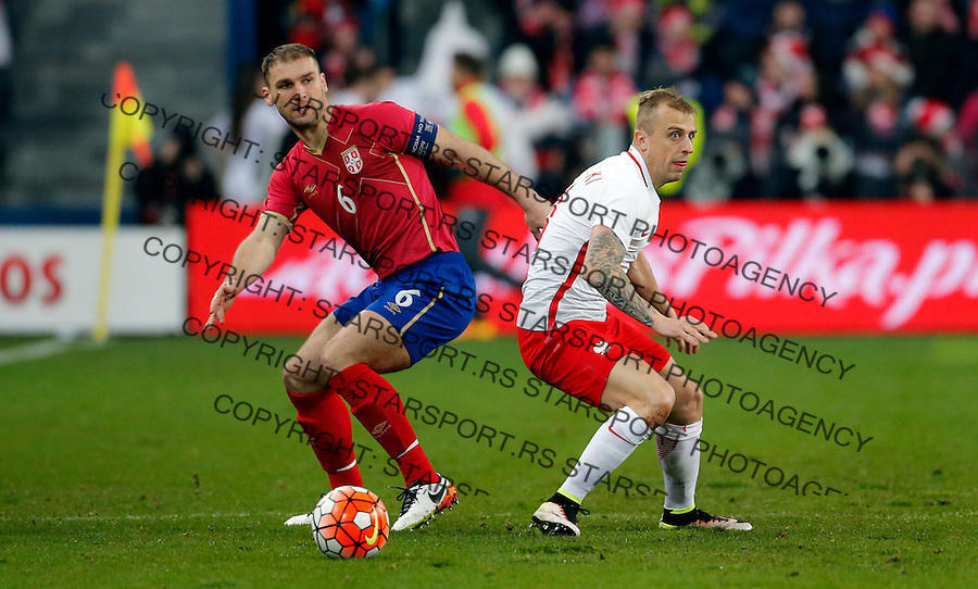 Branislav Ivanovic Poljska - Srbija prijateljska, Poland - Serbia friendly football match, March 23. 2016. Poznan  (credit image & photo: Pedja Milosavljevic / STARSPORT)