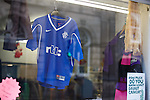 Rangers shirt in a shop window on Forres High Street