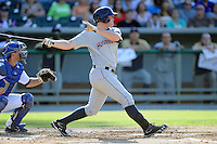 Huntsville Stars first baseman Hunter Morris #15 swings at a pitch during a game against the Tennessee Smokies at Smokies Park on August 12, 2012 in Kodak, Tennessee. The Smokies defeated the Stars 4-0. (Tony Farlow/Four Seam Images).