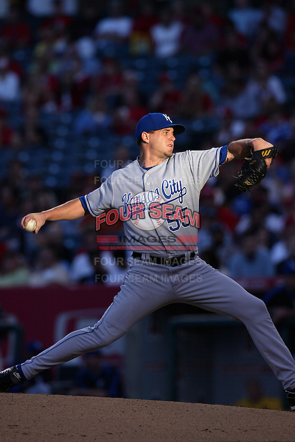 Gil Meche of the Kansas City Royals during a game against the Los Angeles Angels in a 2007 MLB season game at Angel Stadium in Anaheim, California. (Larry Goren/Four Seam Images)
