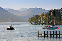 Sailing boats on Lake Ullswater, Lake District, England, United Kingdom