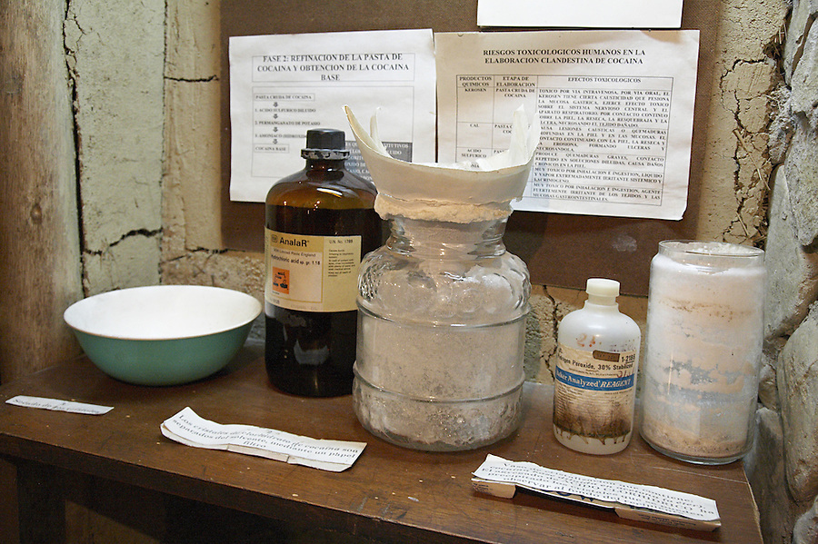 The coca museum in La Paz, Bolivia.  Mock-up of chemicals used to produce cocaine from coca leaves.