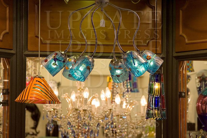 Prodotti artigianali in vetro in un negozio di Venezia.<br /> Glassworks displayed at a window shop in Venice.<br /> UPDATE IMAGES PRESS/Riccardo De Luca