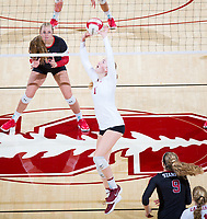 STANFORD, CA - November 4, 2018: Jenna Gray at Maples Pavilion. No. 2 Stanford Cardinal defeated the Utah Utes 3-0.