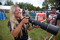 Clothing designer Charmaine Love gets behind the camera after the Super Rugby preseason match between the Hurricanes and Blues at Eketahuna, New Zealand on Saturday, 13 February 2016. Photo: Dave Lintott / lintottphoto.co.nz