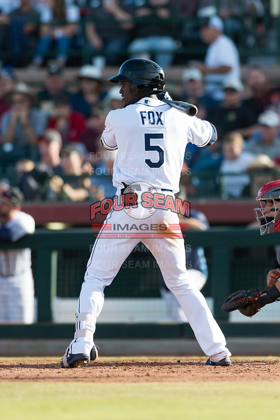 Peoria Javelinas shortstop Lucius Fox (5), of the Tampa Bay Rays organization, at bat during the Arizona Fall League Championship Game against the Salt River Rafters at Scottsdale Stadium on November 17, 2018 in Scottsdale, Arizona. Peoria defeated Salt River 3-2 in 10 innings. (Zachary Lucy/Four Seam Images)