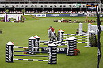 August 09, 2009: Niklaus Schurtenberger (SUI) aboard Cantus competing in the Grand Prix event. Longines International Grand Prix. Failte Ireland Horse Show. The RDS, Dublin, Ireland.
