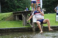 FIERLJEPPEN: GRIJPSKERK: 17-08-2013, 1e Klas wedstrijd, Ysbrand Galama, ©foto Martin de Jong