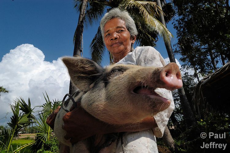 Tim Nam holds a pig in her village of Tmar Sar. United Methodist Women helped a group of women in this Cambodian village purchase pigs as part of an income generating project.