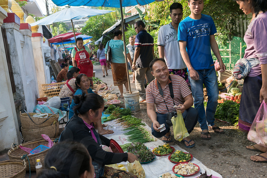 May 12, 2017 - Luang Prabang (Laos). Chef Somsack buy vegetables at the local market. © Thomas Cristofoletti / Ruom