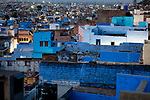 India, Jodhpur, Blue City, Historical City, overview over Blue City at dawn