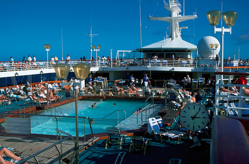 People on deck of Royal Caribbean's Song of America cruise ship