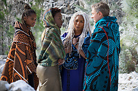 Black Panther (2018)<br /> L to R: Shuri (Letitia Wright), Nakia (Lupita Nyong'o), Ramonda (Angela Bassett) and Everett K. Ross (Martin Freeman)<br /> *Filmstill - Editorial Use Only*<br /> CAP/KFS<br /> Image supplied by Capital Pictures