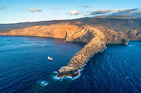 aerial view of Cabo Pearce on Socorro Island, Revillagigedos Islands, Mexico, Pacific Ocean