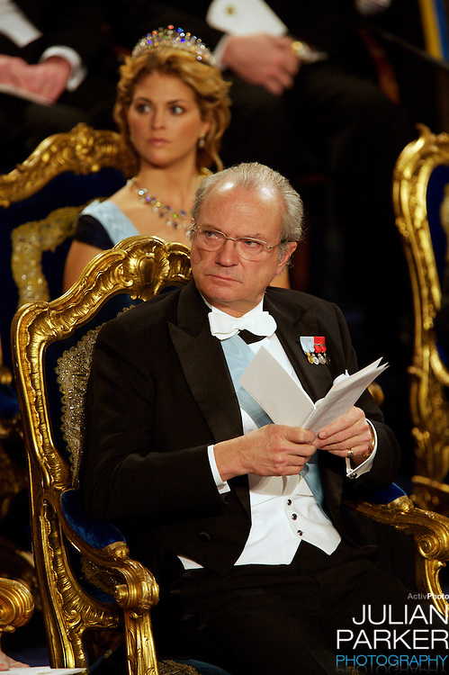The Swedish Royal Family attend The Nobel Prize Award Ceremony at Stockholm Concert Hall, in Sweden..King Carl Gustaf of Sweden attends