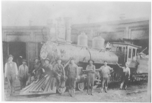 Unidentified locomotive at roundhouse.<br /> D&amp;RG