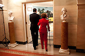 Washington, DC - June 2, 2009 -- United States President Barack Obama escorts former First Lady Nancy Reagan into the Diplomatic Room of the White House June 2, 2009, for the announcement and signing of the Ronald Reagan Centennial Commission Act--commemorating the late President's 100th Birthday in 2011..Mandatory Credit: Pete Souza - White House via CNP