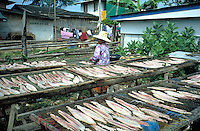 Women drying fish for selling at market