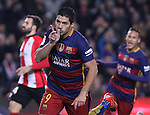17.01.2016 Camp Nou, Barcelona, Spain. La Liga day 20 march between FC Barcelona and Athletic Club. Luis sauarez celebrate his second goal