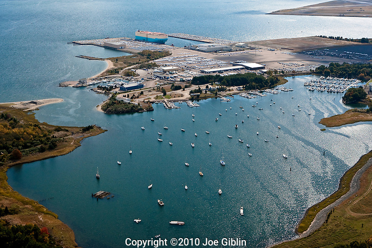Allen Harbor and the NORAD auto import  docks at Davisville in North Kingstown, RI  Aerial images of RI/Narragansett Bay