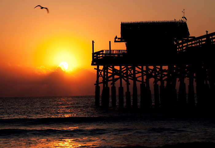 Sun Rises Over the Atlantic Ocean at Cocoa Beach, Florida