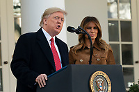 """United States President Donald J. Trump makes remarks as he and first lady Melania Trump present """"Butter"""" the National Thanksgiving Turkey in the Rose Garden of the White House in Washington, DC on Tuesday, November 26, 2019. <br /> CAP/MPI/RS<br /> ©RS/MPI/Capital Pictures"""