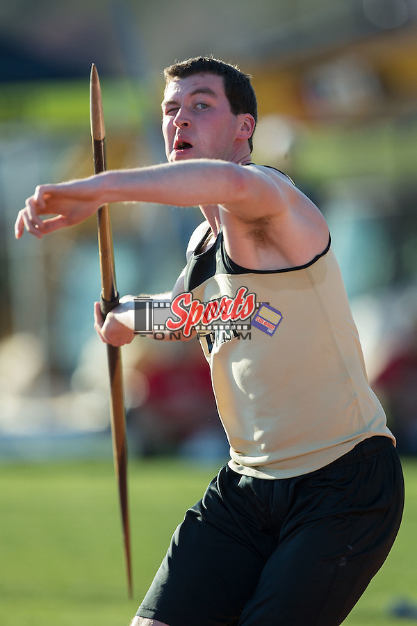 Aiden McConnell competes in the men's javelin throw at the Wake Forest Open on March 18, 2016 in Winston-Salem, North Carolina.  (Brian Westerholt/Sports On Film)