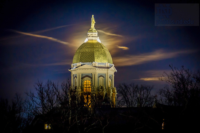 January 2, 2018; Moon rises behind the Dome. (Photo by Matt Cashore)