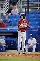 Fort Myers Miracle second baseman Alex Perez (2) at bat during a game against the Dunedin Blue Jays on April 17, 2018 at Dunedin Stadium in Dunedin, Florida.  Dunedin defeated Fort Myers 5-2.  (Mike Janes/Four Seam Images)