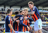 Joe Pigott of Luton Town celebrates his equalizing goal during the Sky Bet League 2 match between Oxford United and Luton Town at the Kassam Stadium, Oxford, England on 16 April 2016. Photo by Liam Smith.