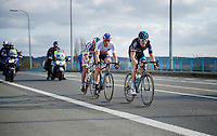 race leaders Geraint Thomas (GBR/SKY), Zdenek Stybar (CZE/Etixx-QuickStep) & Peter Sagan (SVK/Tinkoff-Saxo) in the finale of the race on their way to Harelbeke<br /> <br /> 58th E3 Harelbeke 2015