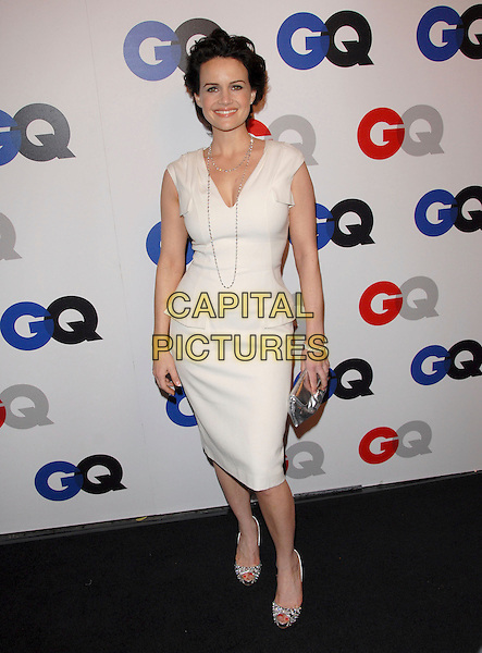 CARLA GUGINO.The 2007 GQ Men of the Year Celebration at Chateau Marmont in West Hollywood, California, USA..December 5th, 2007.full length white sleeveless dress silver bag purse clutch shoes necklace .CAP/DVS.©Debbie VanStory/Capital Pictures
