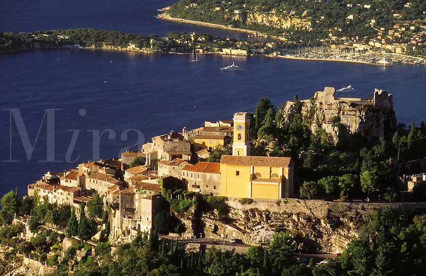 France. Cote d'Azur.  The village of Eze,  ancient hilltop village nestling on  a pinnacle high above the Mediterranean.  Popular tourist destination  between  Nice and Monaco..