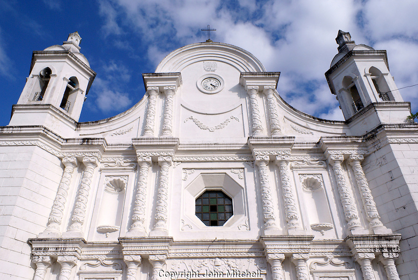 Baroque style Spanish colonial cathedral facing the main plaza in Santa Rosa de Copan, Honduras.