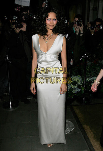 THANDIE NEWTON.Lavender Trust Party, Claridge's Hotel, London, UK..March 14th, 2007.full length white silver dress grey gray sleeveless satin.CAP/AH.©Adam Houghton/Capital Pictures