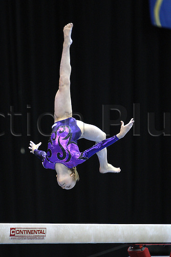 Anastasia Sirodova of Russia competes at the beam during the juniors women apparatus final at the European Artistic Gymnastics Championship at National Indoor Arena in Birmingham, UK on May 2, 2010