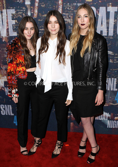 WWW.ACEPIXS.COM<br /> <br /> February 15 2015, New York City<br /> <br /> Haim arriving at the SNL 40th Anniversary Special at the Rockefeller Plaza on February 15, 2015 in New York<br /> <br /> By Line: Nancy Rivera/ACE Pictures<br /> <br /> <br /> ACE Pictures, Inc.<br /> tel: 646 769 0430<br /> Email: info@acepixs.com<br /> www.acepixs.com