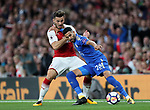 Arsenal's Sead Kolasinac tussles with Leicester's Riyad Mahrez during the premier league match at the Emirates Stadium, London. Picture date 11th August 2017. Picture credit should read: David Klein/Sportimage