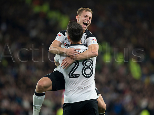 8th September 2017, Pride Park Stadium, Derby, England; EFL Championship football, Derby County versus Hull City; Matej Vydra of Derby County celebrates in the arms of David Nugent of Derby County after scoring in the 34th minute (2-0)