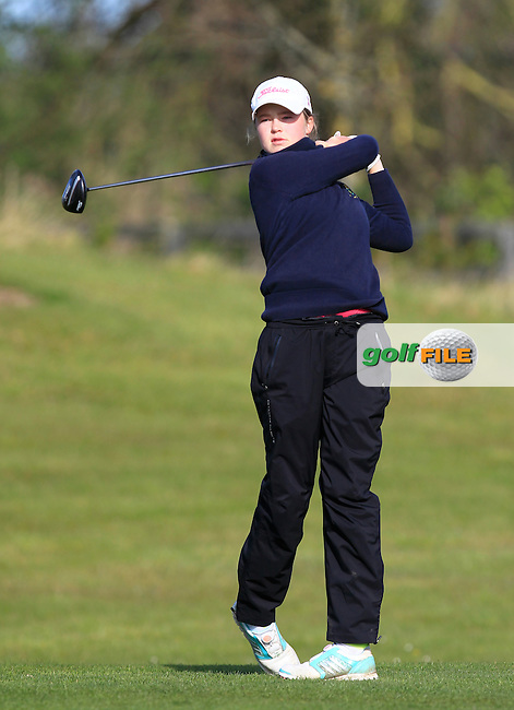 Mimi Rhodes (ENG) on the 1st tee during Round 3 of the Irish Girl's Open Stroke Play Championship at Roganstown Golf &amp; Country Club on Sunday 17th April 2016.<br /> Picture:  Thos Caffrey / www.golffile.ie