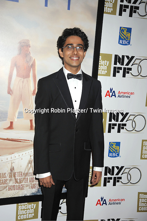 "Suraj Sharma attends the 50th Annual New York Film Festival Opening Night Gala presentation of ""Life of Pi"" starring Suraj Sharma and directored by Ang Lee on September 28, 2012 in New York City. The screening was at Alice Tully Hall at Lincoln Center."