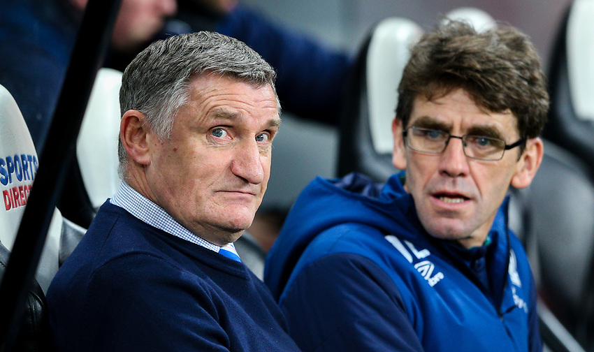 Blackburn Rovers manager Tony Mowbray takes his seat in the dug out<br /> <br /> Photographer Alex Dodd/CameraSport<br /> <br /> Emirates FA Cup Third Round - Newcastle United v Blackburn Rovers - Saturday 5th January 2019 - St James' Park - Newcastle<br />  <br /> World Copyright © 2019 CameraSport. All rights reserved. 43 Linden Ave. Countesthorpe. Leicester. England. LE8 5PG - Tel: +44 (0) 116 277 4147 - admin@camerasport.com - www.camerasport.com